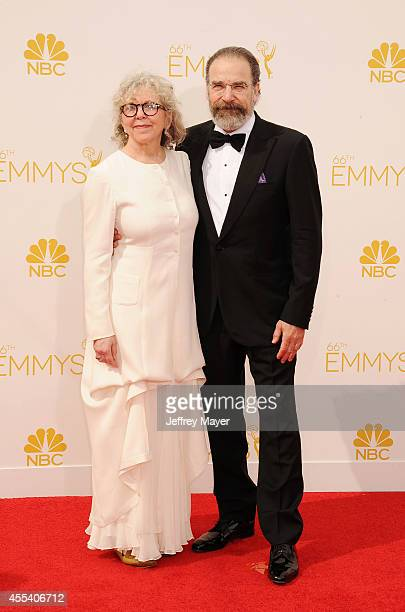 Actor Mandy Patinkin and Kathryn Grody arrive at the 66th Annual Primetime Emmy Awards at Nokia Theatre LA Live on August 25 2014 in Los Angeles...