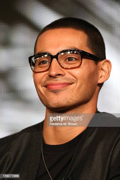 Actor Manny Montana speaks onstage at the Graceland panel discussion during the USA portion of the 2013 Winter TCA Tour Day 4 at the Langham Hotel on...