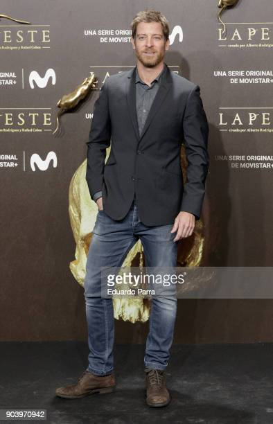 Actor Manu Baqueiro attends the 'La peste' premiere at Callao cinema on January 11 2018 in Madrid Spain