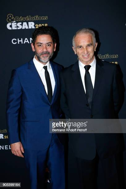 Actor Manu Payet and Cesar Academy President Alain Terzian attend the 'Cesar Revelations 2018' Party at Le Petit Palais on January 15 2018 in Paris...
