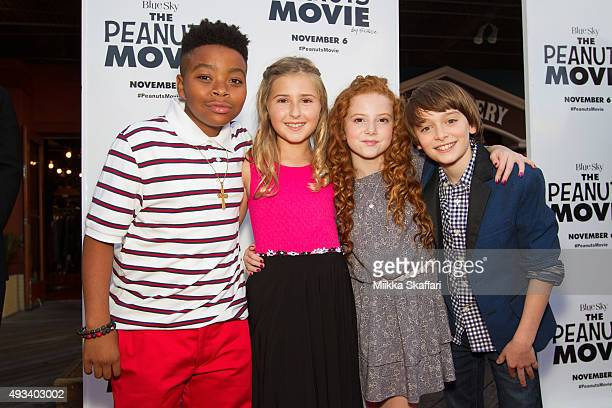 Actor Mar Mar actress Hadley Belle Miller actress Francesca Capaldi actor Noah Schnapp arrive at the red carpet premiere of 'The Peanuts Movie' at...