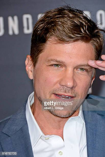Actor Marc Blucas arrives for the premiere of Premiere Of WGN America's 'Underground' held at The Theatre held at The Ace Hotel on March 2 2016 in...