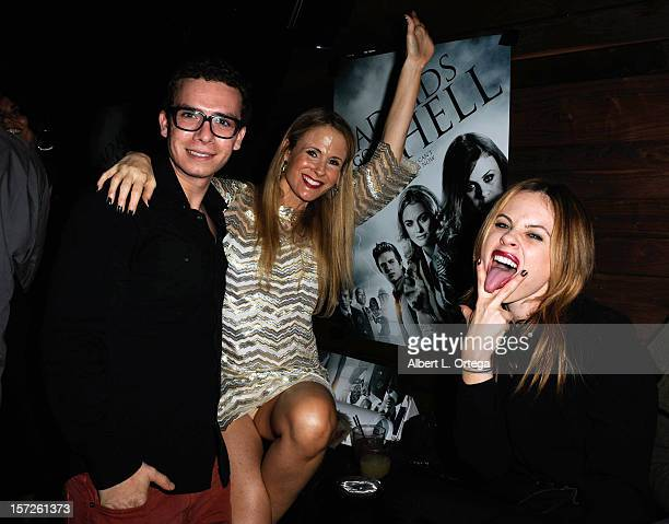 Actor Marc Donato actress Chanel Ryan and actress Augie Duke attend the Birthday Party for Model/actress Chanel Ryan also celebrating the release of...