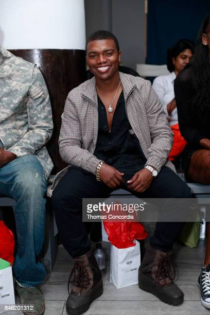Actor Marc John Jefferies attends the front row at Kia STYLE360 Hosts Bad Butterfly Presented by Candice Cuoco x Vanessa Simmons S/S '18 at...