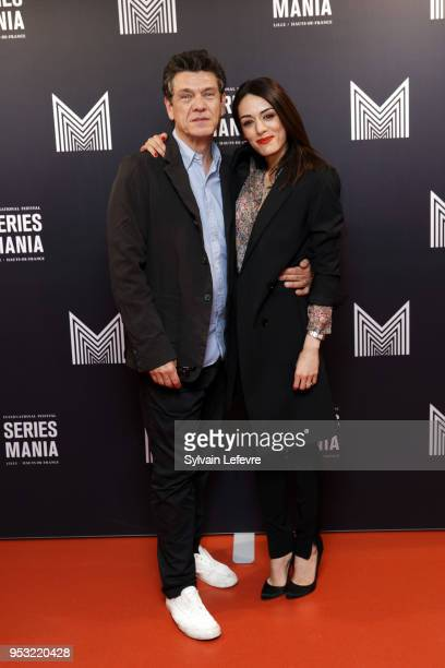 Actor Marc Lavoine and actress Sofia Essaidi attend Series Mania Lille Hauts de France festival day 4 photocall on April 30 2018 in Lille France