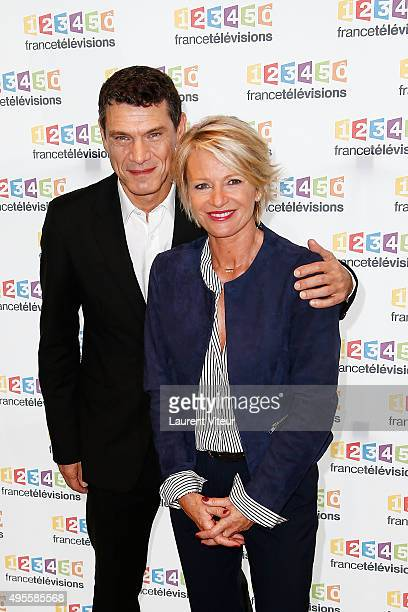 Actor Marc Lavoine and TV Presenter Sophie Davant pose at the Photocall during the Telethon 2015 Press Conference at France Television on November 4...
