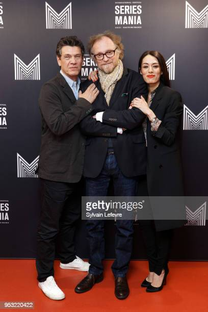 Actor Marc Lavoine director Frederic Schoendoerffer and and actress Sofia Essaidi attend Series Mania Lille Hauts de France festival day 4 photocall...