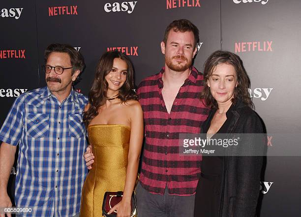 Actor Marc Maron actress/model Emily Ratajkowski director/creator Joe Swanberg and actress Jane Adams attend the premiere of Netflix's 'Easy' at The...