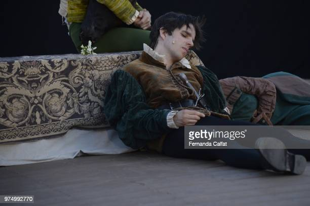Actor Marc Villard performance at Shakespeare Downtown 'A Midsummer Night's Dream'at Battery Park on June 14 2018 in New York City