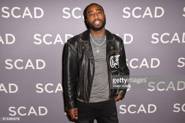 Actor Marcc Rose attends a press junket for 'Unsolved The Murders of Tupac and The Notorious BIG' on Day 2 of the SCAD aTVfest 2018 on February 2...