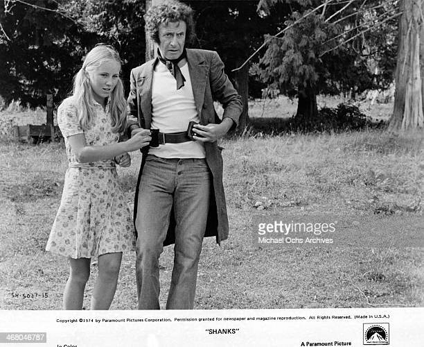 Actor Marcel Marceau and actress Cindy Eilbacher on set of the movie Shanks circa 1974