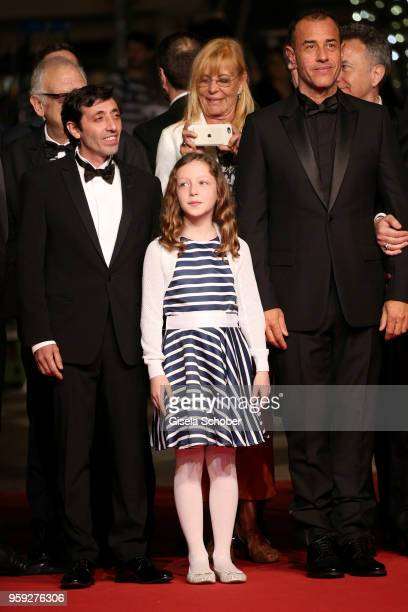 Actor Marcello Fonte actress Alida Baldari Calabria and director Matteo Garrone attend the screening of 'Dogman' during the 71st annual Cannes Film...
