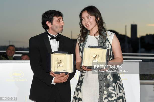 Actor Marcello Fonte poses with the Best Actor award for his role in 'Dogman' with Actress Samal Yeslyamova poses with the Best Actress award for her...