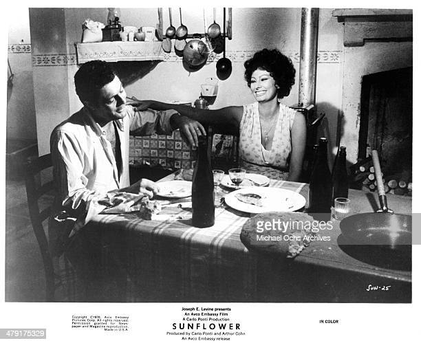 Actor Marcello Mastroianni and actress Sophia Loren in a scene from the movie 'Sunflower' circa 1970