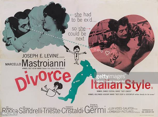 Actor Marcello Mastroianni appears on a poster for the Italian movie 'Divorzio all'italiana' titled 'Divorce Italian Style' 1961