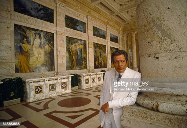 Actor Marcello Mastroianni stands on the set of his 1987 Italian movie Oci Ciornie The movie by Russian director Nikita Mikhalkov was released in...