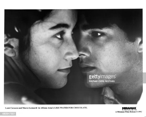 Actor Marco Leonardi and actress Lumi Cavazos in a scene from the Miramax movie Like Water for Chocolate circa 1992