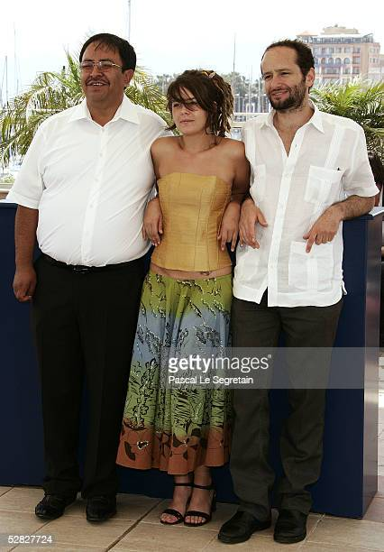 Actor Marcos Hernandez actress Anapola Mushkadiz and director Carlos Reygadas attend a photocall promoting the film Batalla En El Cielo at the Palais...