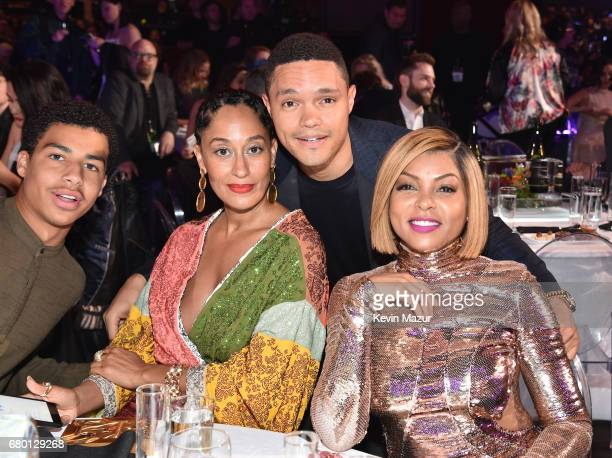 Actor Marcus Scribner actor Tracee Ellis Ross TV personality Trevor Noah and actor Taraji P Henson attend the 2017 MTV Movie And TV Awards at The...