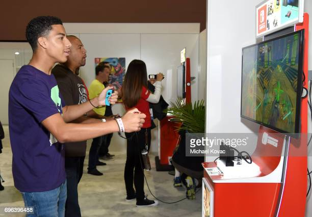 Actor Marcus Scribner visits the Nintendo booth at the 2017 E3 Gaming Convention at Los Angeles Convention Center on June 15 2017 in Los Angeles...