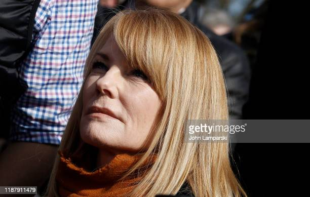 """Actor Marg Helgenberger demonstrates during """"Fire Drill Friday"""" climate change protest on November 15, 2019 in Washington, DC. Protesters are..."""