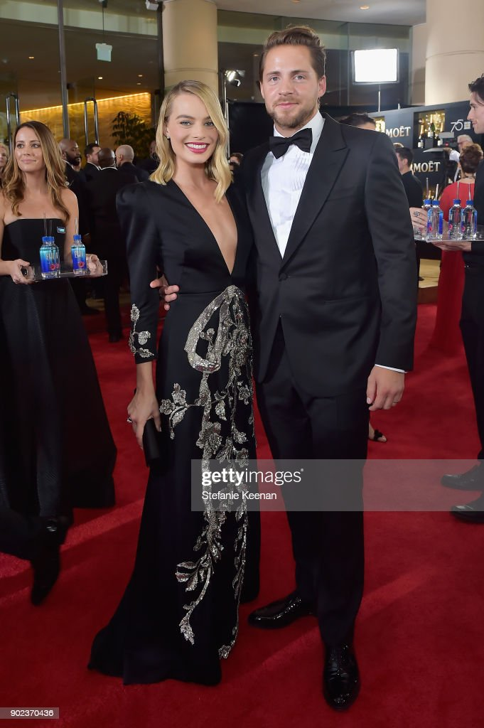 Actor Margot Robbie and producer Tom Ackerley attend The 75th Annual Golden Globe Awards at The Beverly Hilton Hotel on January 7, 2018 in Beverly Hills, California.