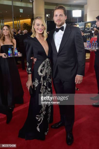 Actor Margot Robbie and producer Tom Ackerley attend The 75th Annual Golden Globe Awards at The Beverly Hilton Hotel on January 7 2018 in Beverly...