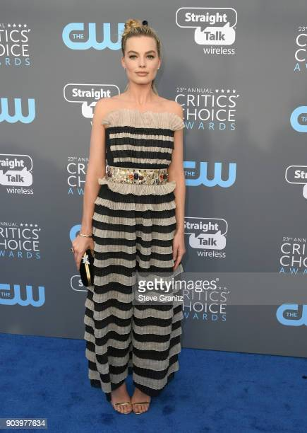 Actor Margot Robbie attends The 23rd Annual Critics' Choice Awards at Barker Hangar on January 11 2018 in Santa Monica California