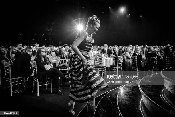 Image has been converted to black and white Actor Margot Robbie attends The 23rd Annual Critics' Choice Awards at Barker Hangar on January 11 2018 in...