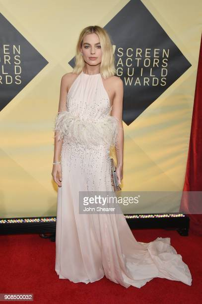 Actor Margot Robbie attends the 24th Annual Screen Actors Guild Awards at The Shrine Auditorium on January 21 2018 in Los Angeles California