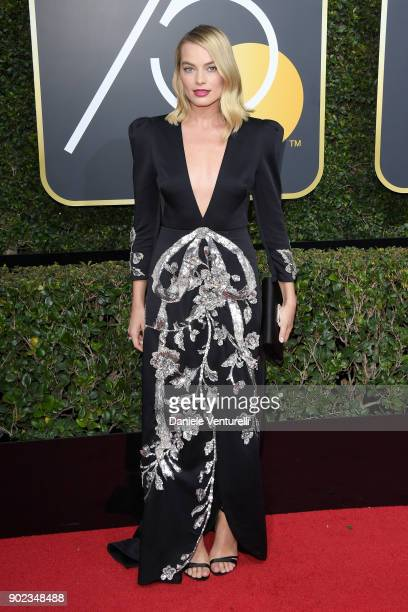 Actor Margot Robbie attends The 75th Annual Golden Globe Awards at The Beverly Hilton Hotel on January 7 2018 in Beverly Hills California