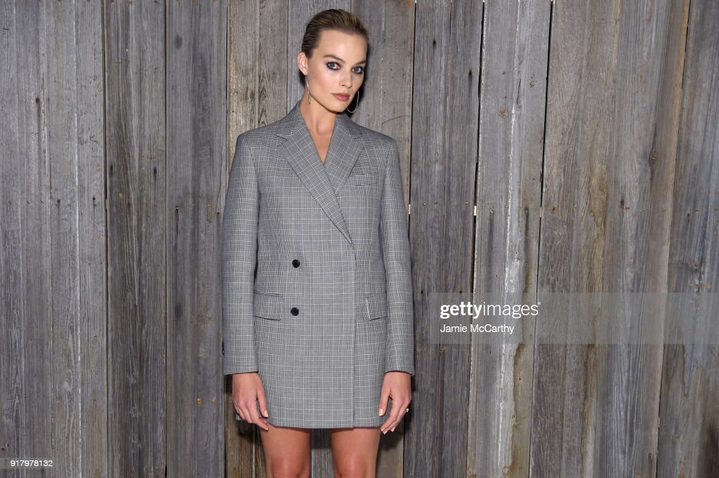 Actor Margot Robbie attends the Calvin Klein Collection during New York Fashion Week at New York Stock Exchange on February 13, 2018 in New York City.