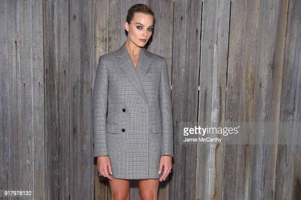 Actor Margot Robbie attends the Calvin Klein Collection during New York Fashion Week at New York Stock Exchange on February 13 2018 in New York City