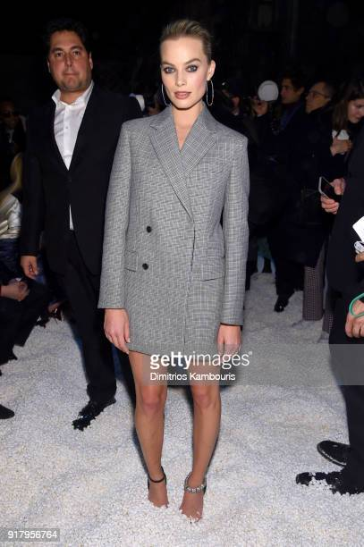 Actor Margot Robie attends the Calvin Klein Collection front row during New York Fashion Week at New York Stock Exchange on February 13 2018 in New...