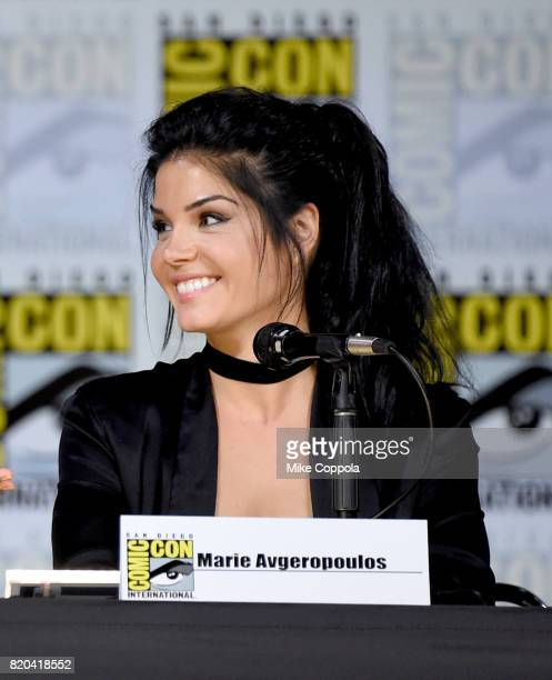 Actor Marie Avgeropoulos speaks onstage at ComicCon International 2017 'The 100' panel at San Diego Convention Center on July 21 2017 in San Diego...