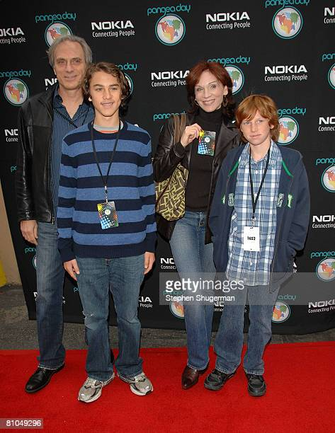 Actor Marilu Henner with husband Michael Brown and sons Joe and Nick attend Pangea Day at Sony Studios on May 10 2008 in Culver City California