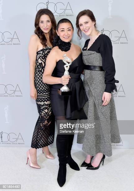Actor Marin Hinkle costume designer Ane Crabtree winner of the Excellence in Contemporary Television award for 'The Handmaid's Tale' and actor Rachel...