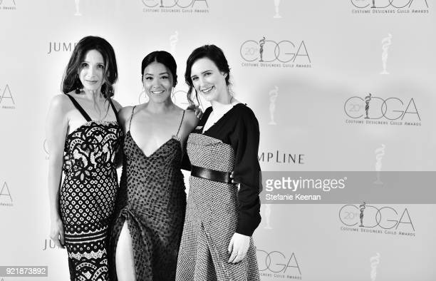Actor Marin Hinkle host Gina Rodriguez and actor Rachel Brosnahan attend the Costume Designers Guild Awards at The Beverly Hilton Hotel on February...