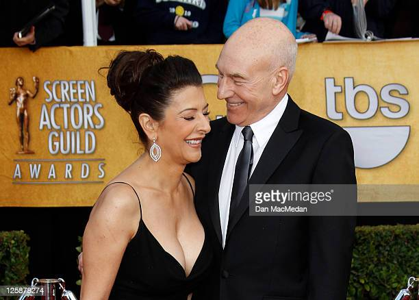 Actor Marina Sirtis and Patrick Stewart arrive at the 17th Annual Screen Actors Guild Awards held at The Shrine Auditorium on January 30, 2011 in Los...
