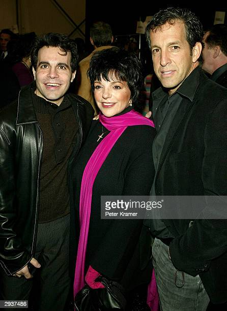 Actor Mario Cantone , actress Liza Minnelli and designer Kenneth Cole mingle backstage at the Kenneth Cole fashion show during Olympus Fashion Week...