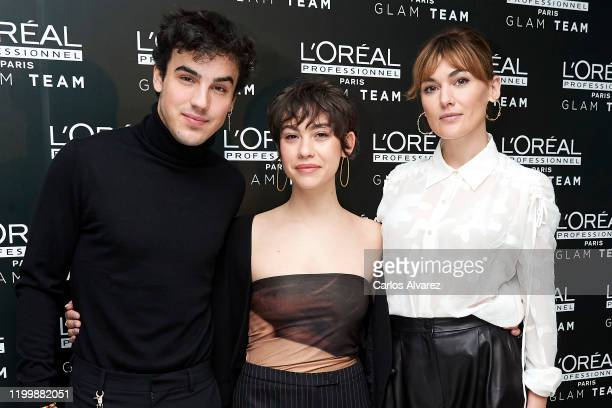 Actor Mario Casas actress Greta Fernandez and actress Marta Nieto attend L'Oreal Professionnel presentation at Ramses on January 16 2020 in Madrid...
