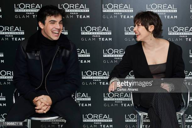 Actor Mario Casas and actress Greta Fernandez attend L'Oreal Professionnel presentation at Ramses on January 16 2020 in Madrid Spain