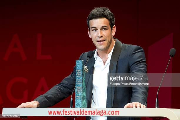 Actor Mario Casas receives a silver award during Malaga Film Festival on April 28 2013 in Malaga Spain