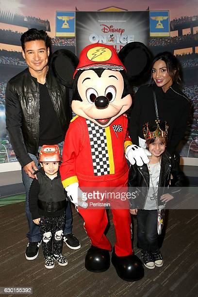 Actor Mario Lopez Actress Courtney Laine Mazza and family attend Disney On Ice Presents Worlds Of Enchantment Celebrity Guests at Staples Center on...