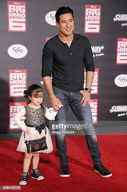 "Actor Mario Lopez and daughter Gia Francesca Lopez arrive at the Los Angeles premiere of Disney's ""Big Hero 6"" at the El Capitan Theatre on November..."