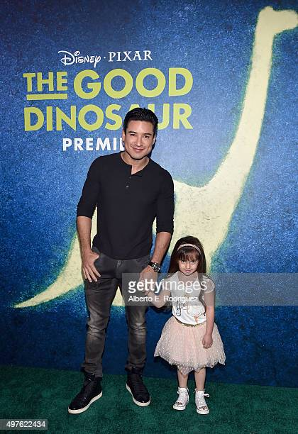 Actor Mario Lopez and Gia Francesca Lopez attend the World Premiere Of DisneyPixar's THE GOOD DINOSAUR at the El Capitan Theatre on November 17 2015...