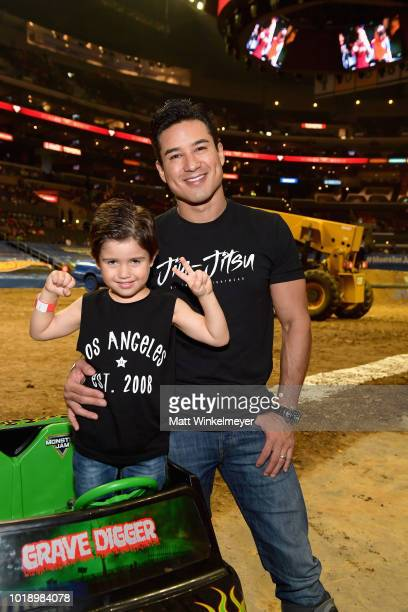 Actor Mario Lopez and his son Dominic Llopez attend Monster Jam at STAPLES Center on Saturday August 18 2018 in Los Angeles CAa