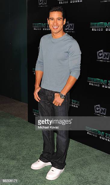 Actor Mario Lopez arrives at the Los Angeles Premiere of Cartoon Network's 'Ben 10 Alien Swarm' at Warner Bros Studios on November 18 2009 in Burbank...