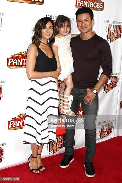 Actor Mario Lopez Gia Francesca Lopez and Courtney Mazza attends the opening of 42nd Street at the Pantages Theatre on May 31 2016 in Hollywood...
