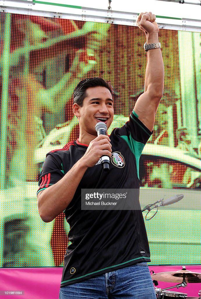 Actor Mario Lopez speaks onstage during the T-Mobile World Cup Viewing Party at Plaza Mexico on June 11 at Plaza Mexico in Lynwood, CA.